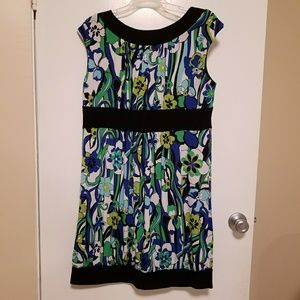AGB Dress size 16 in Black Blue White & Green